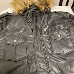 Full length Guess jet black coat.